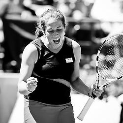 Irina Falconi celebrates a point against Caroline Wozniacki during the 2011 Family Circle Cup at Daniel Island.