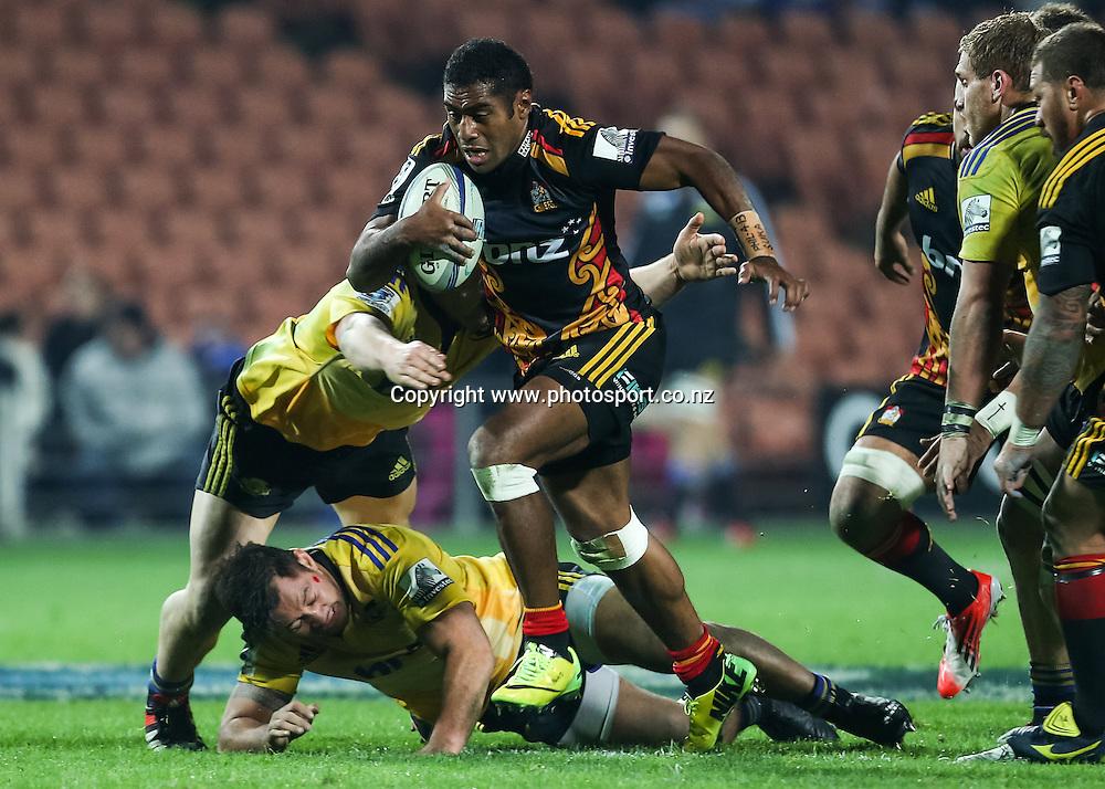 Chiefs' Asaeli Tikoirotuma in action during the Super 15 Rugby match - Chiefs v Hurricanes at Waikato Stadium, Hamilton, New Zealand on Friday 4 July 2014.  Photo:  Bruce Lim / www.photosport.co.nz