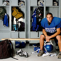 Jesuit High School senior Kevin Valenti is running back for the varsity football team. Athlete Portrait, Tampa