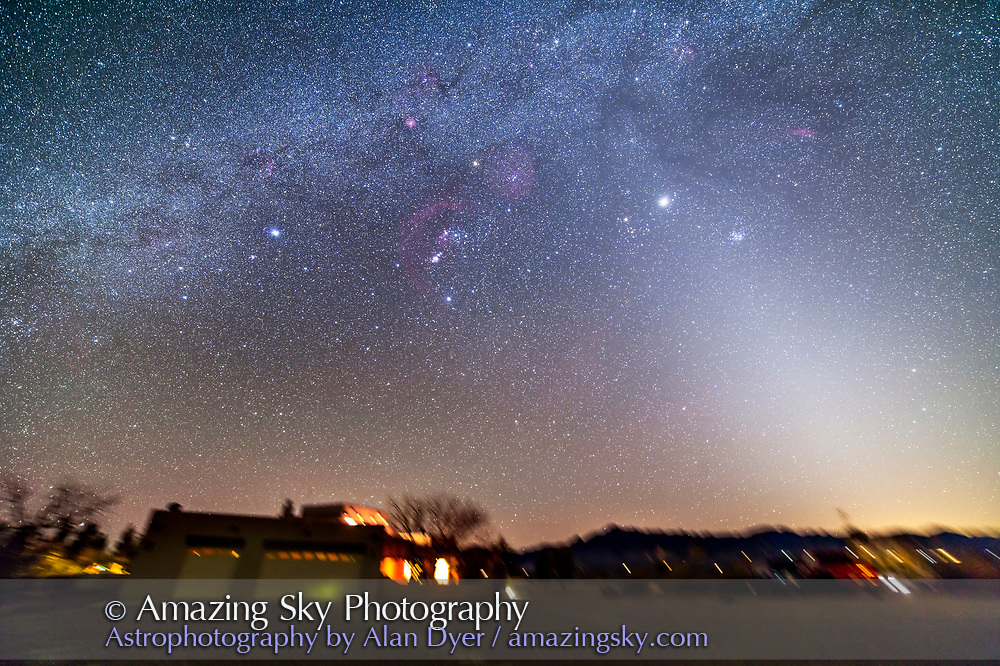 The northern winter Milky Way setting into the west with the Zodiacal Light at right. Taken from the Painted Pony Resort, New Mexico, March 10, 2013. This is a stack of 5 x 5 minute tracked exposures with the Samyang 14mm lens at f/2.8 and Canon 5D MkII at ISO 800. Used iOptron SkyTracker. The ground is from one exposure only.
