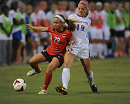 Ole Miss' Jennifer Miller (22) vs. Memphis' Danielle Tolmais (19) in soccer action at the Ole Miss Soccer Stadium in Oxford, Miss. on Sunday, September 15, 2013. Ole Miss won 3-0.
