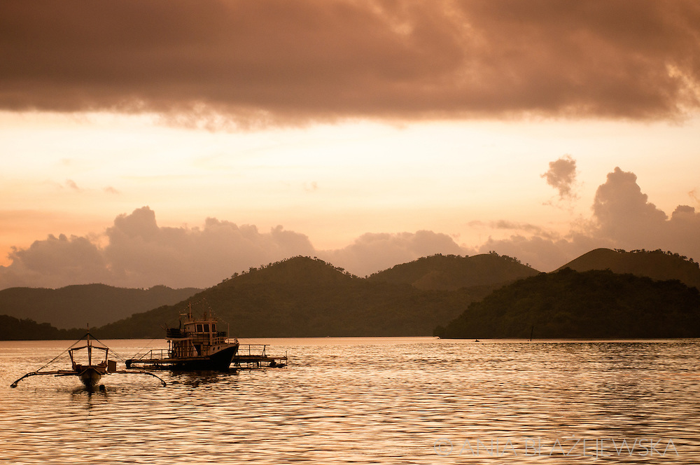 Philippines, Busuanga. Sunset in Coron.
