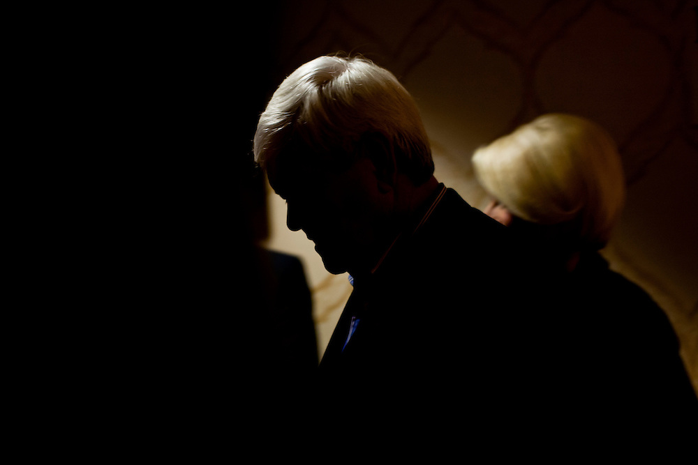 Republican presidential candidate Newt Gingrich leaves after meeting with voters at Junction Sports Bar & Grill on Sunday, January 1, 2012 in Marshalltown, IA.