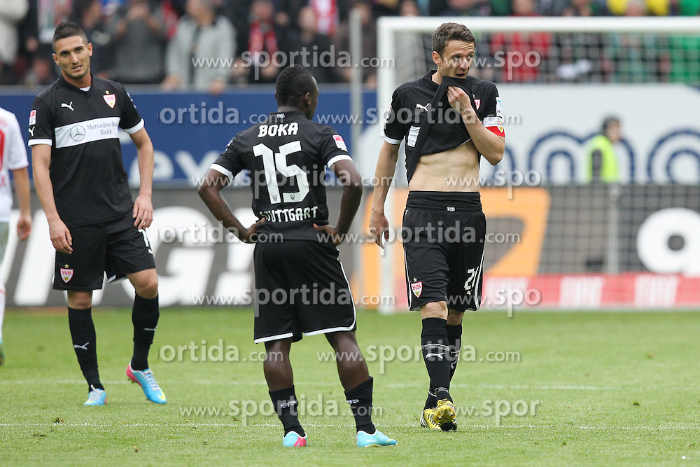 27.04.2013, SGL Arena, Augsburg, GER, 1. FBL, FC Augsburg vs VfB Stuttgart, 31. Runde, im Bild enttaeschung bei Federico MACHEDA #14 (VfB Stuttgart), Arthur BOKA #15 (VfB Stuttgart) und Christian GENTNER #20 (VfB Stuttgart) // during the German Bundesliga 31th round match between FC Augsburg and VfB Stuttgart at the SGL Arena, Augsburg, Germany on 2013/04/27. EXPA Pictures © 2013, PhotoCredit: EXPA/ Eibner/ Christian Kolbert..***** ATTENTION - OUT OF GER *****