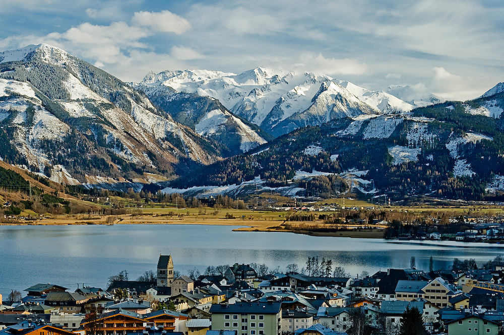 A late afternoon view looking over Zeller See, Zell Am See, Austria