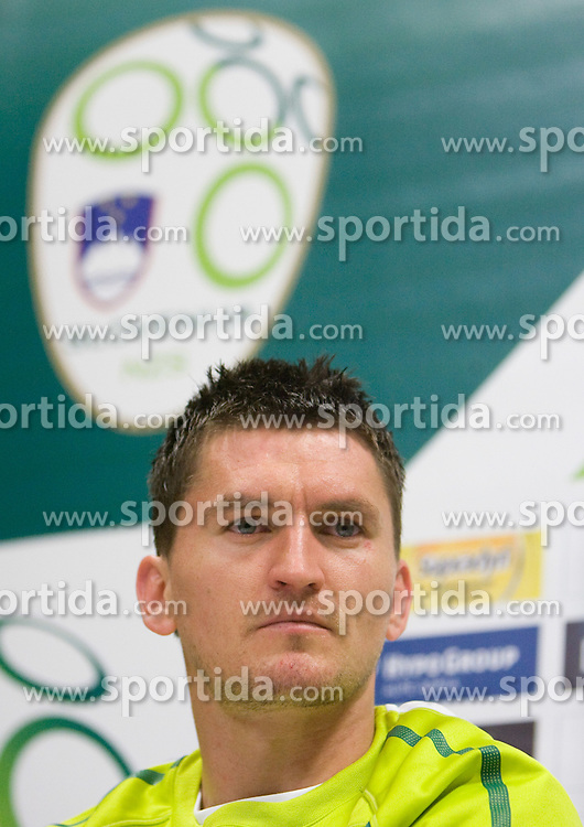 Andraz Kirm of Slovenia at press conference after the training session at  Hyde Park High School Stadium on June 8, 2010 in Johannesburg, South Africa.  (Photo by Vid Ponikvar / Sportida) / SPORTIDA PHOTO AGENCY