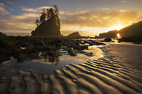 Warm evening light and intricate pattern in the sand on Second Beach in Olympic National Park, Washington USA