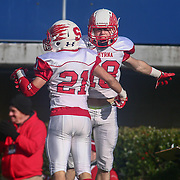 Smyrna defensive back Jacob Soroko (21) celebrates with teammate after an interception during the DIAA division one Football Championship game between Top-seeded Middletown (11-0) and second-seeded Smyrna (11-0) Saturday, Dec. 03, 2016 at Delaware Stadium in Newark.