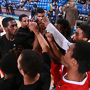 Maine Red Claws huddle together prior to a NBA D-league regular season basketball game between the Delaware 87ers and the Maine Red Claws Friday, Feb. 05, 2016 at The Bob Carpenter Sports Convocation Center in Newark, DEL.