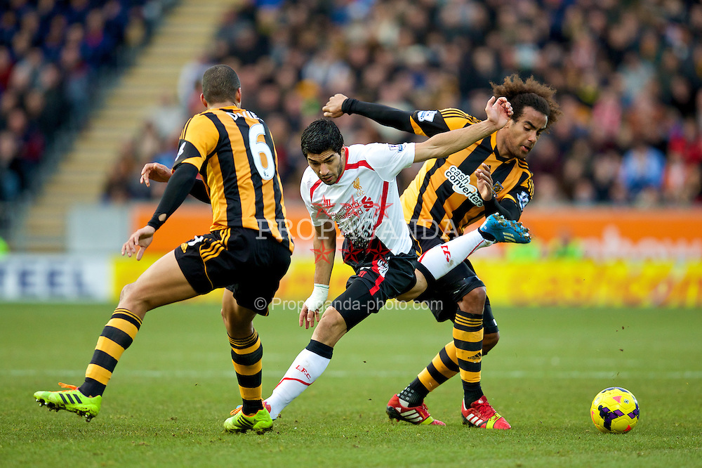 HULL, ENGLAND - Sunday, December 1, 2013: Liverpool's Luis Suarez in action against Hull City during the Premiership match at the KC Stadium. (Pic by David Rawcliffe/Propaganda)