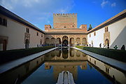 Court of the Myrtles (Patio de los Arrayanes) inside the Nasrid Palaces at The Alhambra, palace and fortress complex located in Granada, Andalusia, Spain