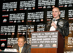 December 11, 2007; New York, NY, USA;  Unbeaten World Middleweight Champion Kelly Pavlik speaks at the press conference announcing his rematch against former champion Jermain Taylor, which will take place Saturday, February 16, 2008, at MGM Grand in Las Vegas, NV.  Taylor missed attending the press conference due to the birth of his baby girl on Monday evening.