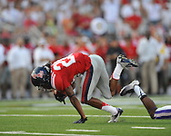 Ole Miss wide receiver Korvic Neat (28) makes a catch at Vaught-Hemingway Stadium in Oxford, Miss. on Saturday, September 1, 2012. (AP Photo/Oxford Eagle, Bruce Newman)..