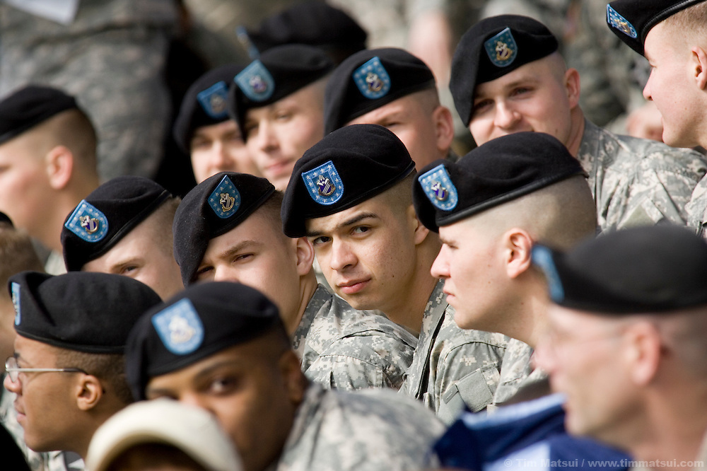 SEATTLE, WA - Soldiers, family, and friends of the US Army's newest Stryker unit, the Fourth Brigade, Second Infantry, attend the 4/2's deployment ceremony at Fort Lewis Army Base near Seattle, Washington, on Monday, March 12, 2007.
