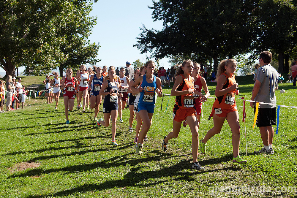 A Utah pack (L to R: Timpanogos Ashley Anderson, Orem's Kate Mitchell, Ogden's Melissa Garrett and Aubrey Barton) during the first loop of the Bob Firman Invitational elite girls race at Eagle Island State Park in Eagle, Idaho on Spetember 24, 2011.