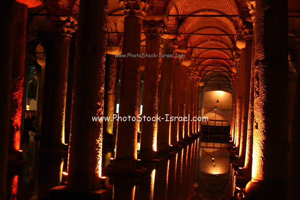 """Basilica Cistern (Turkish: Yerebatan Sarnıcı – """"Cistern Sinking Into Ground""""), beneath the city of Istanbul, Turkey. The cistern, was built in the 6th century during the reign of Byzantine Emperor Justinian I."""
