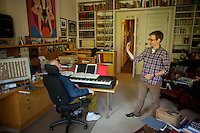 Composer John Kander and his collaborator Gregory Pierce, writer, work together in Kander's New York home office on the Upper West Side of Manhattan. .. Photo by Robert Caplin