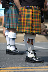 Americana patriotic parade, Scottish highland bagpipers and colorful kilts.