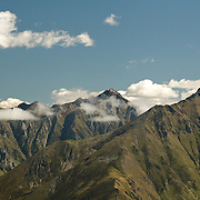 View of Pic de Maubermé and the Biros valley from the Pic de la Calabasse near Saint-Lary, Ariege, Pyrenees, France.