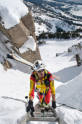 NEWS&GUIDE PHOTO / PRICE CHAMBERS.Zahan Billimoria nears the top of Corbet's Couloir, the highest point of the U.S. Ski Mountaineering National Championship. The race challenged participants with about 6,000 feet of climbing before the final descent. Billimoria finished 10th with a time of 2 hours, 12 minutes and 31 seconds.