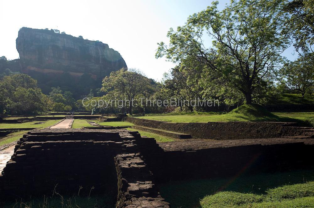 Sigiriya. View of the rock from entrance via pleasure gardens.
