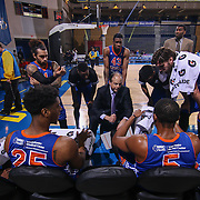 Westchester Knicks Head Coach MIKE MILLER draw up a play during a time out in the first half of a NBA D-league regular season basketball game between the Delaware 87ers and the Westchester Knicks Tuesday, JAN, 19, 2016 at The Bob Carpenter Sports Convocation Center in Newark, DEL