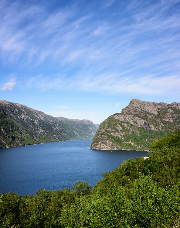 At the entrance to the fjord Frafjord, a sidearm of Høgsfjorden, Rogaland, Norway.