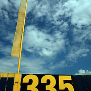 The right field foul pole at Municipal Stadium.  photo by David Peterson