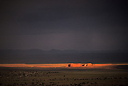 Image of the landscape during sunset and storm in Rough Rock, Arizona, American Southwest