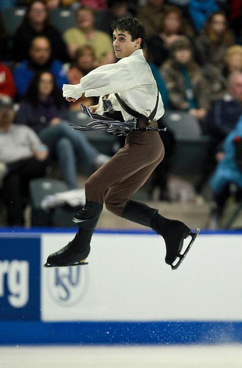 20101030 -- Kingston, Ontario -- Javier Fernandez of Spain skates his free skate at Skate Canada International in Kingston, Ontario, Canada, October 30, 2010. <br /> AFP PHOTO/Geoff Robins