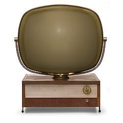 Retro TV modeled after the Philco Predicta isolated on a white background with clipping paths