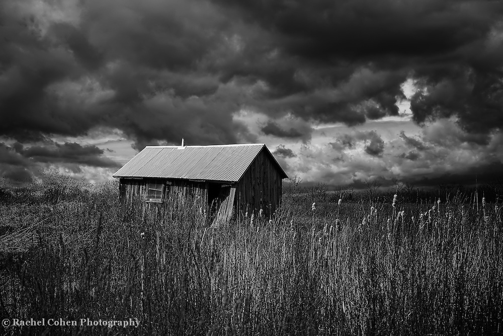 &quot;Overtaken by More Clouds&quot; <br /> <br /> An amazing black and white farm scene on a dark and stormy day!