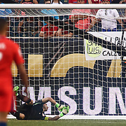Chile Keeper CLAUDIO BRAVO (1) watches the ball bounce into the net in the 5th minute of the first half of a Copa America Centenario Group D match between the Chile and Panama Tuesday, June. 14, 2016 at Lincoln Financial Field in Philadelphia, PA.