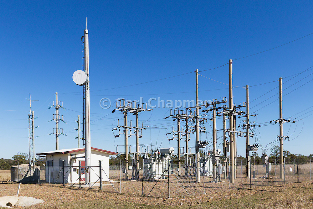 rural electricity high voltage power sub-station in Coominglah, Queensland, Australia