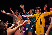 """""""Aninsokurabu"""" is the largest otaku club event of the year with lots of DJs playing animation music and VJs mixing anime clips live. The audience was very enthusiactic, dressed in cosplay or dancing """"otagei""""."""