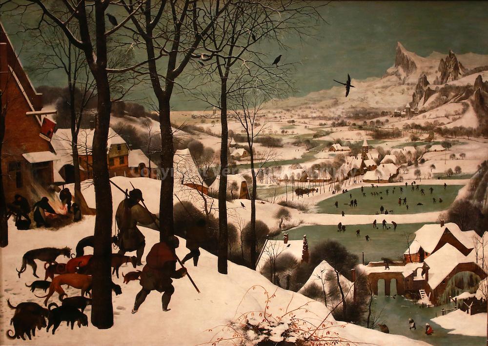 Paintings gallerie, Kunsthistorisches Museum, Vienna, Austria : Pieter Bruegel, hunters in the snow ( winter ), 1565 // Galerie de peinture du Kunsthistorisches Museum, Vienne, Autriche : Pieter Bruegel, chasseurs dans la neige ( hiver ), 1565