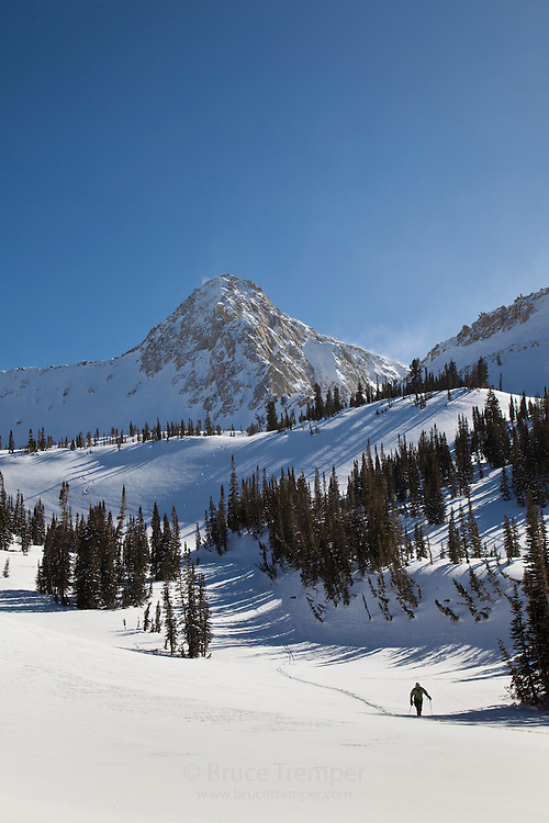 Backcountry skier with the Pfeifferhorn behind, Little Cottonwood Canyon, Utah