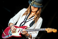 Theresa Becker Wayman guitarist of Warpaint on stage at Field Day festival in London on 2011