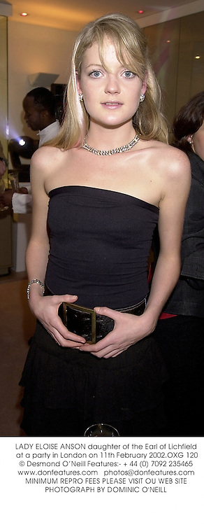 LADY ELOISE ANSON daughter of the Earl of Lichfield at a party in London on 11th February 2002.OXG 120