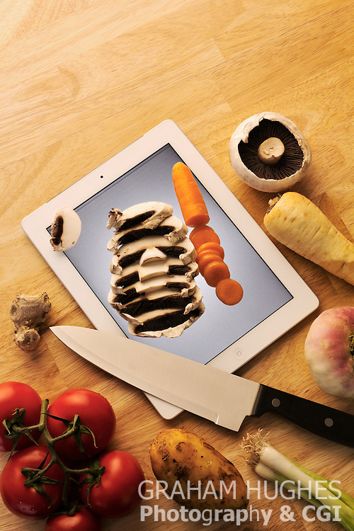 iPad As Cutting Board With Vegetables & Knife