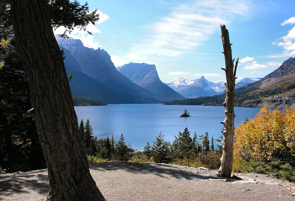 Amazing vista point along Going to the Sun Road. Saint Mary Lake and Wild Goose Islan,. Glacier National Park, Montana.