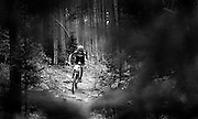 SHOT 8/19/11 10:43:34 AM - Mike Schilling of Breckenridge, Co. makes his way down a rocky section of trail while competing in the Solo 30 Men's category during the final day of racing in The Breck Epic in Breckenridge, Co. Schilling finished second in the category with a time of 21:24:15. The event is a 6-day ultra-endurance mountain bike stage race held in the sprawling backcountry surrounding the town of Breckenridge, Co. The course is 240 miles and features a combined 38,000 feet of climbing, 90% of which is above 10,000 feet. More than 200 riders from 15 different countries participated in the race. (Photo by Marc Piscotty / © 2011)