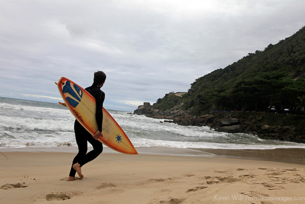 South America, Brazil. Prainha Beach near Rio de Janiero, a popular surf spot in Brazil.