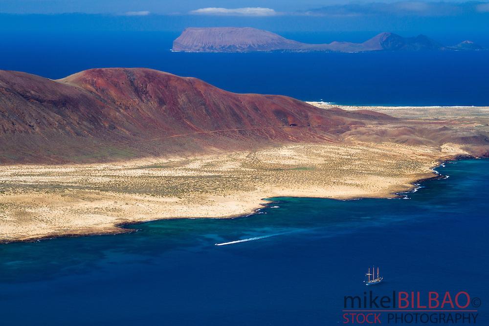 La Graciosa island from Mirador del Rio. Chinijo Archipelago.<br /> Lanzarote, Canary Islands, Atlantic Ocean, Spain.