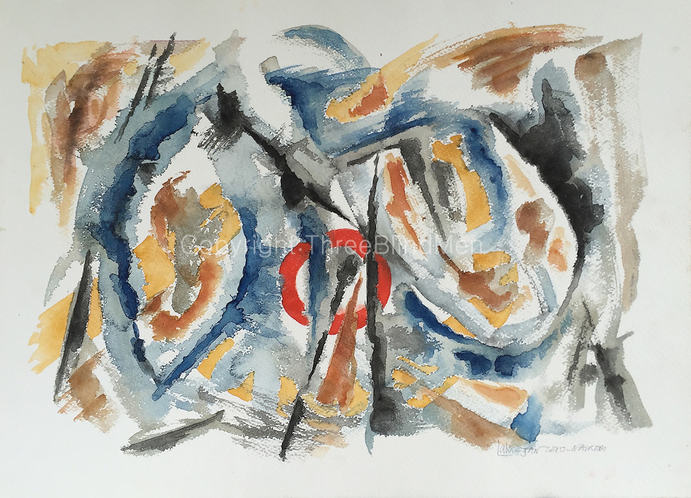 Laki Senanayake. <br /> &ldquo;Abstract 3 with Red Circle&rdquo;<br /> 27&rdquo; x 20&rdquo;<br /> January 2010. Painted in Nairobi.<br /> WC on Paper.<br /> 250