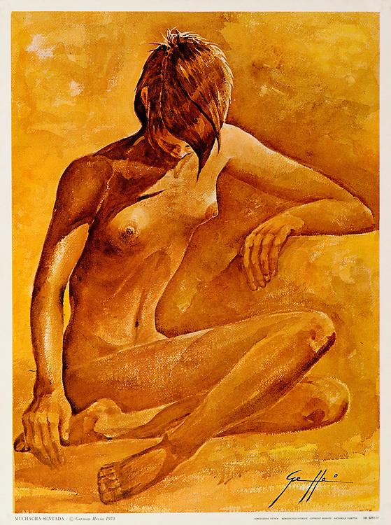 Cat. #15 - Print of watercolor painting of a young woman nude seated on the floor. Printed in Italy on heavy weight, smooth stock.<br /> Paper size is 10 1/4 x 13 1/2&quot;. Image size is approximately 9 1/2x 12 3/4&quot; <br /> Cat. #15 - Impresi&oacute;n de una pintura en acuarela de una joven desnuda sentada en el piso. Impreso en Italia en papel liso y pesado,<br /> Tama&ntilde;o del papel es 10 1/4 x 13 1/2&quot;. Tama&ntilde;o de la imagen es aproximadamente 9 1/2x 12 3/4&quot;