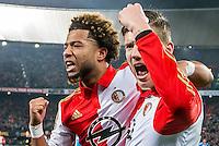 ROTTERDAM - Feyenoord - AZ , Voetbal , Seizoen 2015/2016 , Halve finales KNVB Beker , Stadion de Kuip , 03-03-2016 , Speler van Feyenoord Tonny Vilhena (l) viert de 1-0 met Speler van Feyenoord Michiel Kramer (r)