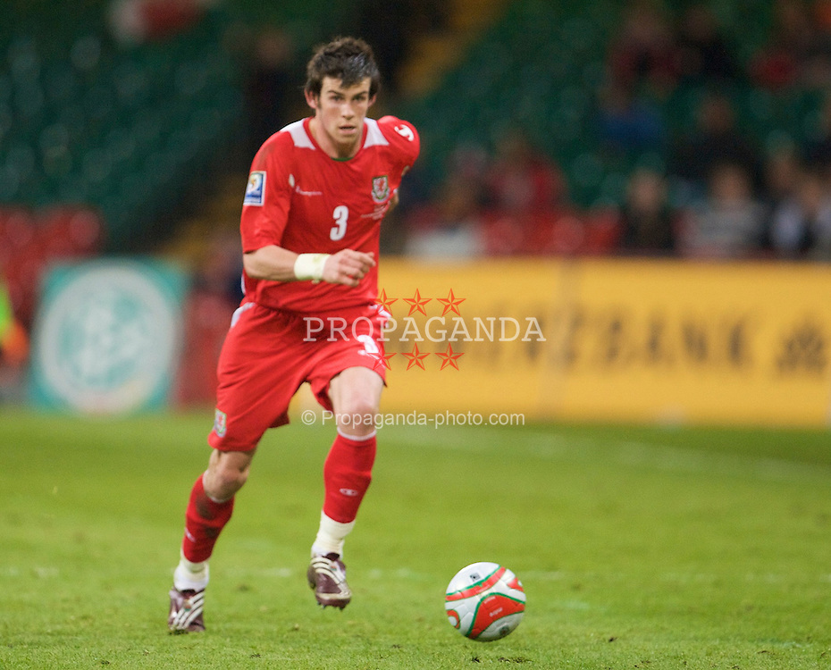 CARDIFF, WALES - Wednesday, April 1, 2009: Wales' Gareth Bale in action against Germany during the 2010 FIFA World Cup Qualifying Group 4 match at the Millennium Stadium. (Pic by David Rawcliffe/Propaganda)