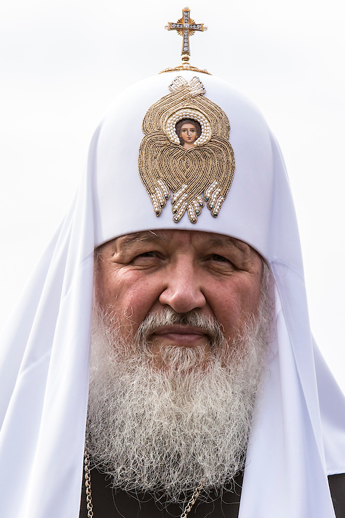 Kirill I, patriarch of the Russian Orthodox Church, makes a statement to reporters during an appearance for Moscow Mayor Sergei S. Sobyanin's re-election campaign on Thursday, August 29, 2013 in Moscow, Russia.