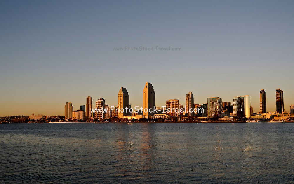 USA, California, San Diego Downtown at sunset